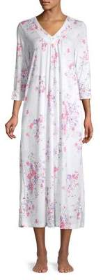 Carole Hochman Floral Three-Quarter Sleeve Nightgown