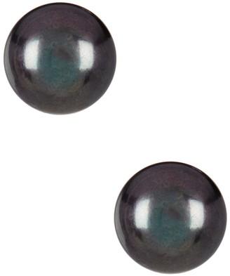Splendid Pearls 14K Yellow Gold 12-12.5mm Black Pearl Stud Earrings