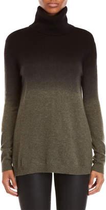 Qi Black & Green Cashmere Dip Dye Turtleneck Sweater