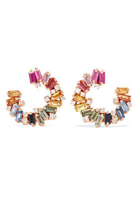 Suzanne Kalan Spiral 18-karat Rose Gold, Sapphire And Diamond Earrings