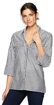 Chic Classic Collection Women's Button Front 3/4 Sleeve Woven Shirt-Stripe