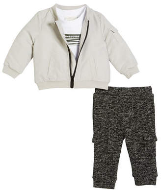 Miniclasix Bomber Jacket, Graphic Tee and Knit Cargo Pants, Size 3-24 Months