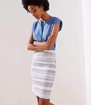 f328cd628a LOFT Petite Striped Jacquard Pull On Pencil Skirt