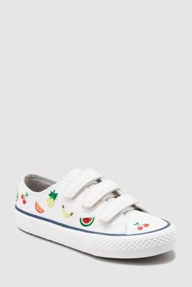 Next Girls White Fruit Embroidered Strap Trainers (Older)