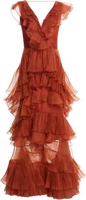 Johanna Ortiz Melancholy Dance Ruffled Silk Organza Gown