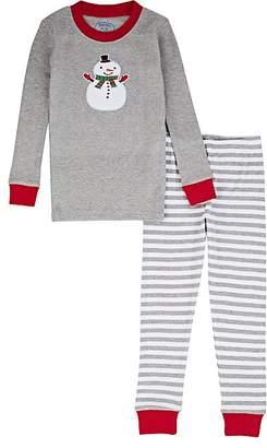 Sara's Prints KIDS' SNOWMAN-GRAPHIC COTTON-BLEND TOP & PANTS SET