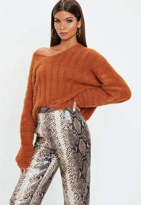 Missguided Burnt Orange Fluffy Ribbed Knit Sweater