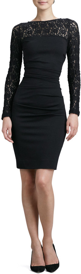 Nicole Miller Long-Sleeve Textured Lace Cocktail Dress
