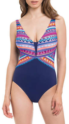 Gottex PROFILE BY Printed V-Neck One Piece Swimsuit