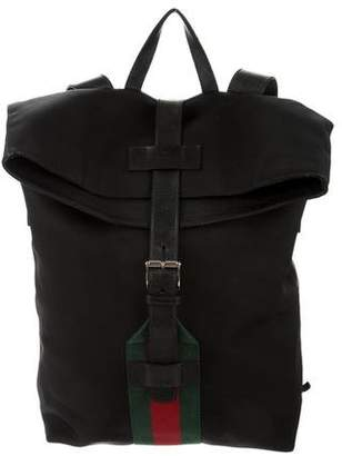 Gucci Leather-Trimmed Web Backpack