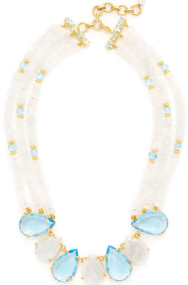 Bounkit Moonstone & Quartz Layered Statement Necklace