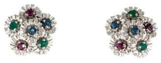 14K Sapphire, Ruby & Chrysoprase Flower Earrings