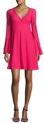 Nanette Lepore Long-Sleeve Mesh Fit-and-Flare Dress, Pink $328 thestylecure.com