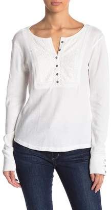 Lucky Brand Novelty Embroidered Bib Long Sleeve Thermal Henley