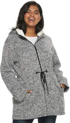 Steve Madden Nyc Juniors' Plus Size NYC Sweater Fleece Sherpa Hood Jacket