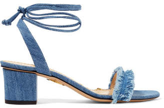 Charlotte Olympia Tara Frayed Denim Sandals - Light blue