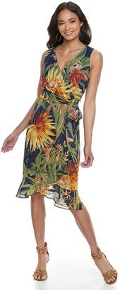 Sangria Petite Tropical Print Midi Dress