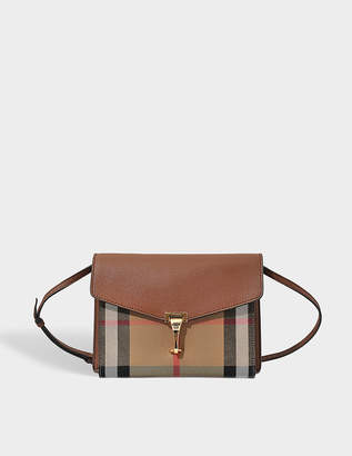 Burberry Small Macken Bag in Tan Canvas and Calfskin