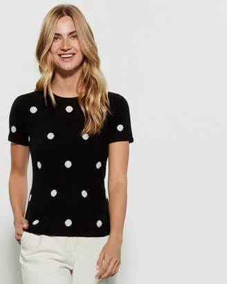 Qi Polka Dot Short Sleeve Cashmere Sweater
