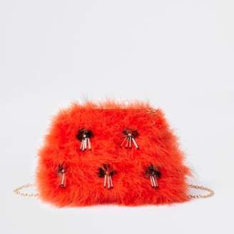 River Island Womens Orange feather sequin clutch chain bag