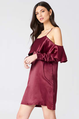 boohoo Open Shoulder Frill Dress