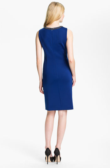 Ellen Tracy Sleeveless Embellished Front Sheath Dress