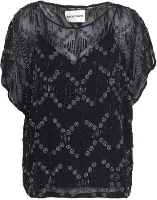 Antik Batik Bead-embellished Embroidered Crepe Blouse