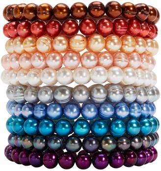 Honora Set of 10 Multi-Color Pearl Stretch Bracelets