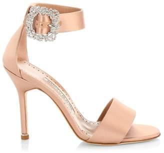 Manolo Blahnik Embellished Ankle-Strap Satin Sandals