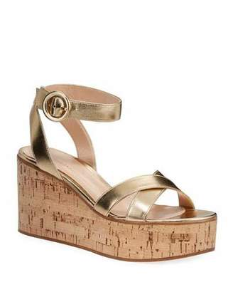Gianvito Rossi Metallic Cork-Platform Sandals