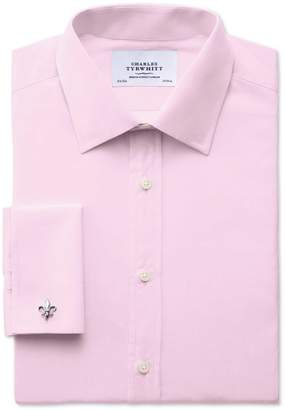 Charles Tyrwhitt Extra Slim Fit End-On-End Pink Cotton Dress Shirt Single Cuff Size 15.5/33
