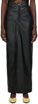 Markoo Black Vegan Leather The Long Slit Skirt