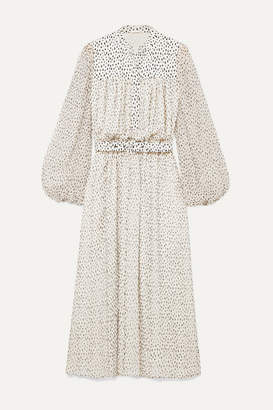ADAM by Adam Lippes Gathered Printed Silk-chiffon Midi Dress - Ivory