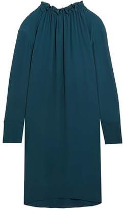 Marni Gathered Washed-Crepe Shirt Dress