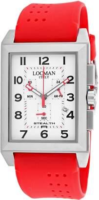 Locman Men's Stealth Silicone Band Titanium Case Quartz Watch 242WH2BK-RDRU