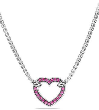 David Yurman Valentine Hearts Pink Sapphire Station Necklace