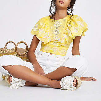 River Island Womens Yellow embroidered frill sleeve crop top