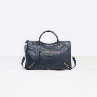 "Balenciaga Medium sized lambskin hand carry and shoulder bag with ""classic"" shiny hardware"
