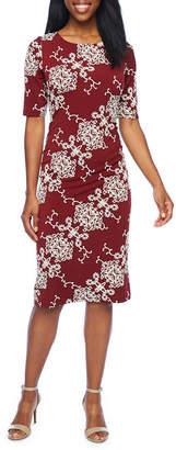 Ronni Nicole Short Sleeve Scroll Puff Print Sheath Dress