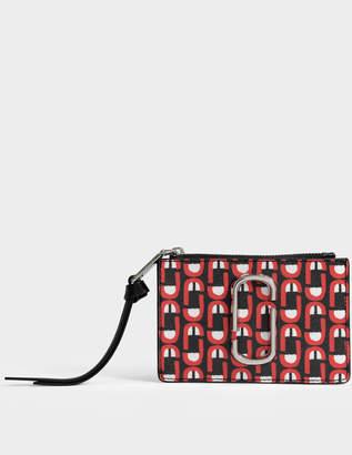 Marc Jacobs Snapshot Logo Top Zip Multi Wallet in Red Split Cow Leather