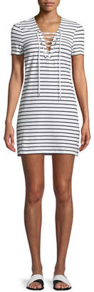 Bardot Short-Sleeve Lace-Up Shirtdress