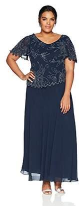 J Kara Women's Plus Size Flutter Sleeve Beaded Long Dress