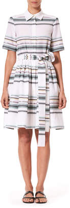 Carolina Herrera Short-Sleeve Striped Shirtdress