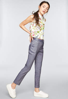 Milly MINIS STRETCH DENIM LINEN JACKIE PANT