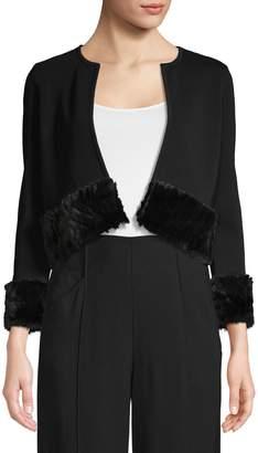 Calvin Klein Faux-Fur Trim Knit Shrug