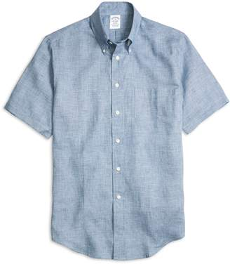Brooks Brothers Regent Fit Check Linen Short-Sleeve Sport Shirt