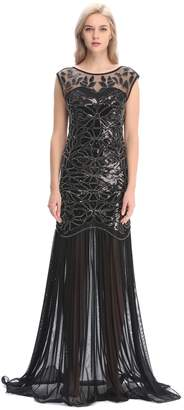 Co Pilot-trade clothing trade Pilot-trade 1920s Long Prom Dresses Sequins Beaded Art Deco Evening Party Back M