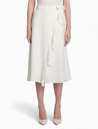 Calvin Klein tie belt ruffle skirt