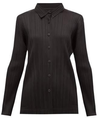 Pleats Please Issey Miyake Pleated Shirt - Womens - Black