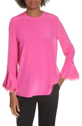 Tory Burch Ruffle Sleeve Silk Blouse